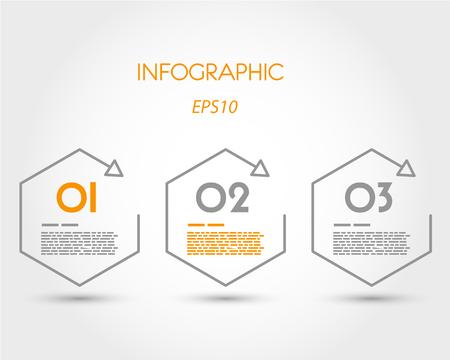 three orange: linear infographic hexagons. infographic concept. Illustration