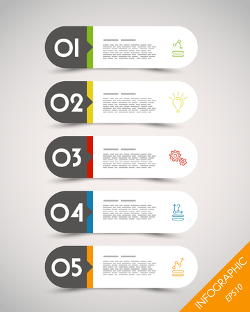 website design: colorful long rounded stickers with icons. infographic concept.