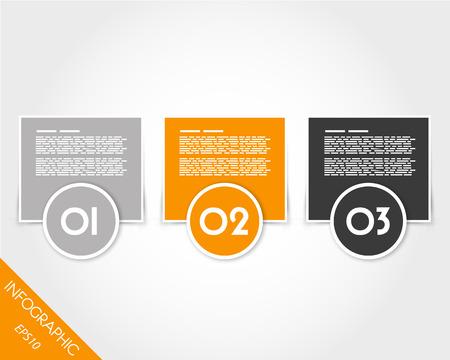 prospectus: orange infographic rings and squares. infographic concept. Illustration