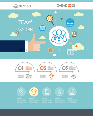 graphic presentation: blue website template with team work. infographic concept. Illustration