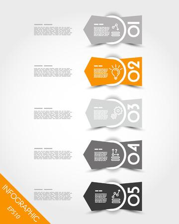 irregular: orange irregular stickers with arrow. infographic concept.