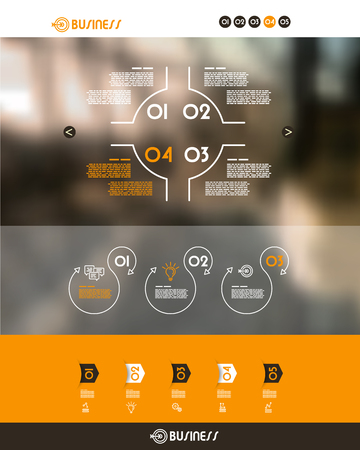 separator: orange website template with circle separator. infographic concept.