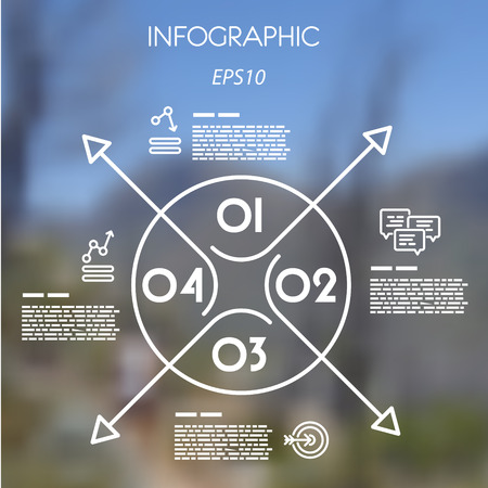 blur: white linear infographic template with ring and arrows. infographic concept. Illustration