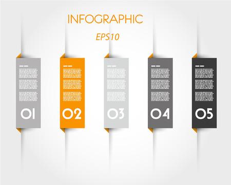 tabs: orange infographic rectangular tabs. infographic concept.