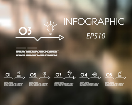 white linear infographic set of arrows with icons. infographic concept.