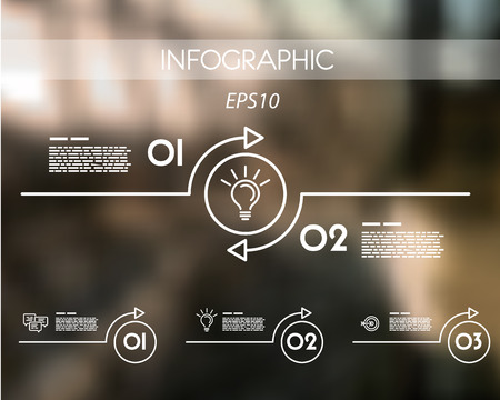 prospectus: white linear infographic arc with ring. infographic concept. Illustration