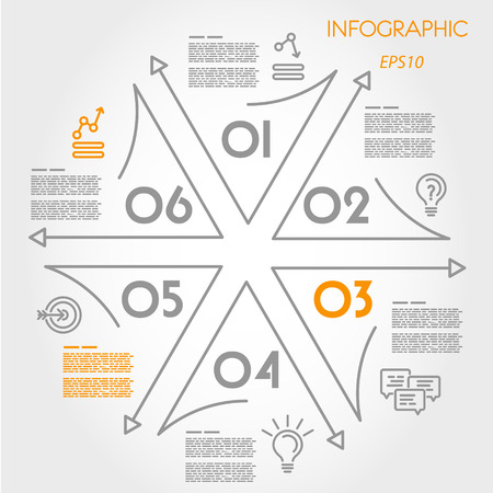 linear infographic star with icons. infographic concept. Illustration
