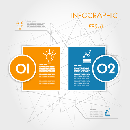 prospectus: two colorful infographic squares with rings. infographic concept. Illustration