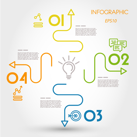 colorful linear infographics with 4 curves. infographic concept. Illustration
