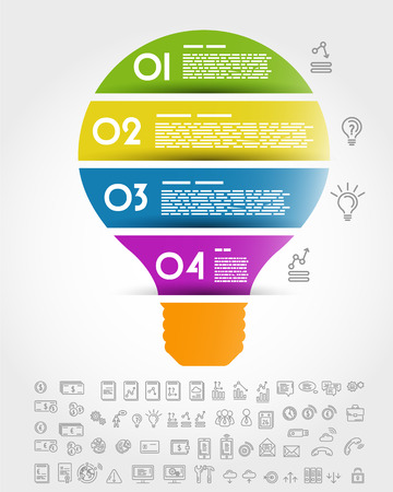 big colorful infographic bulb. infographic concept. Illustration