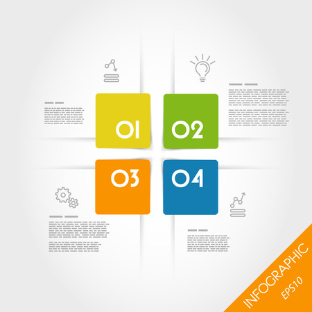 rounded squares: colorful infographic rounded squares. infographic concept.