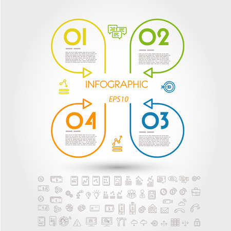 prospectus: colorful infographic linear cloverleaf. infographic concept.