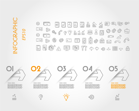 pamphlet: linear infographic outline arrows. infographic concept. Illustration