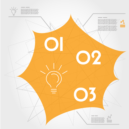 orange web template with three options. infographic concept.