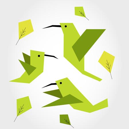 colibríes verdes, concepto colorido plano