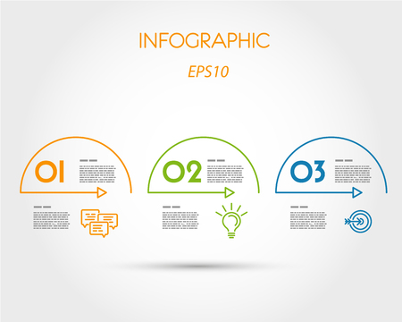 arcs: colorful linear infographic arcs with icons. infographic concept. Illustration