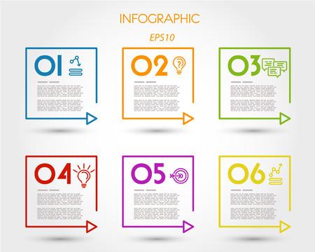 prospectus: colorful linear square timeline elements. infographic concept.