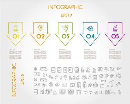 유행: 다채로운 선형 인포 그래픽 큰 역 화살표입니다. 인포 그래픽 개념입니다.