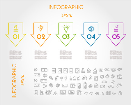 trend: colorful linear infographic big reverse arrows. infographic concept.