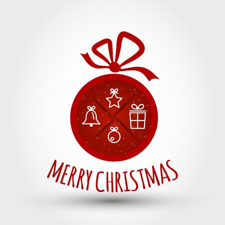 christmas concept: red christmas ball with symbols. christmas concept
