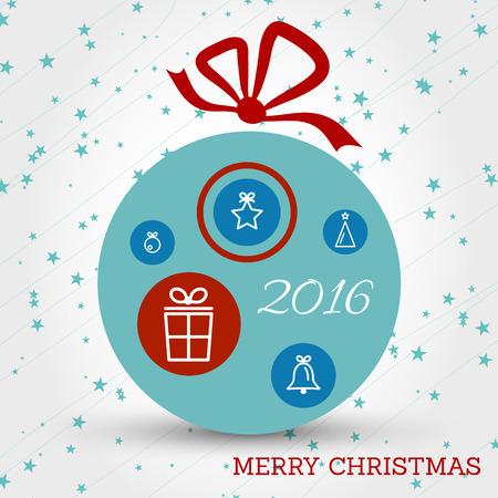 christmas concept: blue christmas ball with symbols and rings. christmas concept