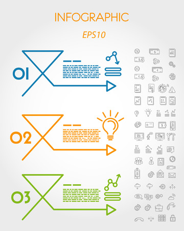 prospectus: colorful linear infographic arrow with icons. infographic concept.