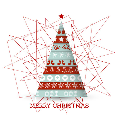 christmas concept: red and blue christmas tree with symbols. christmas concept