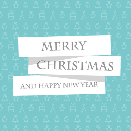 christmas concept: blue christmas card with stickers. christmas concept Illustration