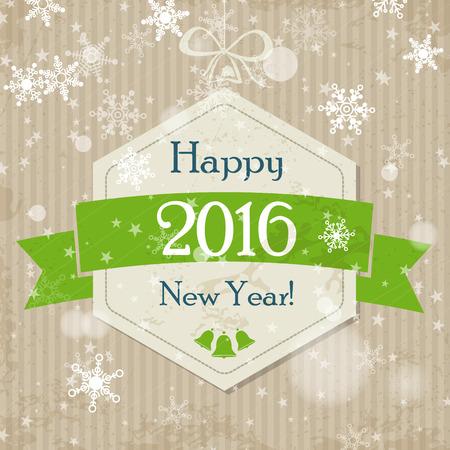 christmas concept: new year green hexagonal ball 2016. christmas concept Illustration