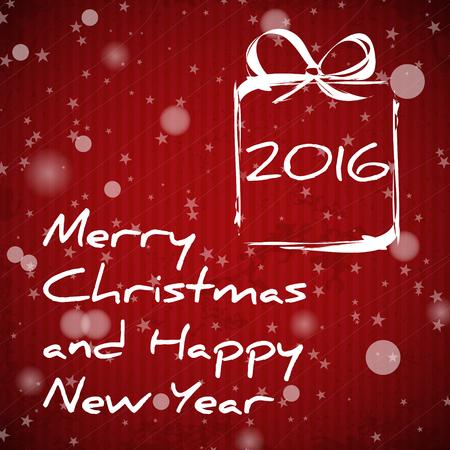 christmas concept: red christmas card with gift 2016. christmas concept