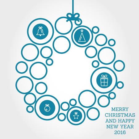 christmas concept: blue christmas wreath with circles. christmas concept