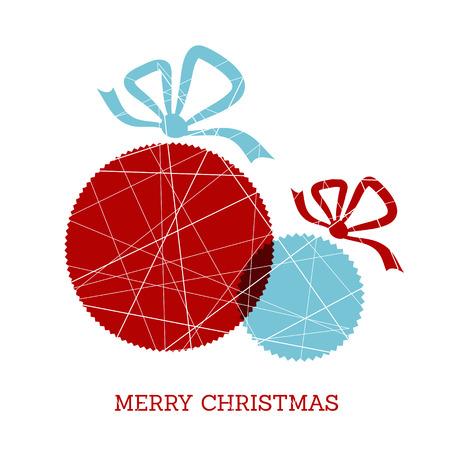 christmas concept: red and blue christmas zig zag balls. christmas concept Illustration