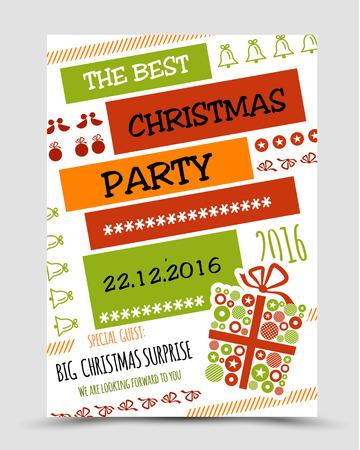 christmas concept: colorful christmas party poster. christmas concept