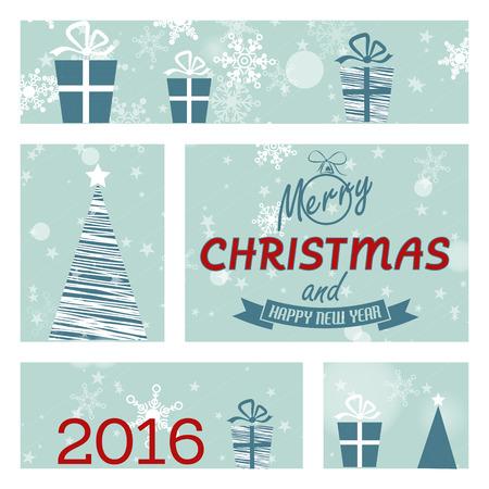 christmas concept: blue christmas card with window 2016. christmas concept