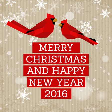 christmas concept: red christmas card with birds. christmas concept