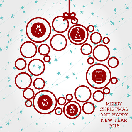 red christmas wreath with circles. christmas concept Illustration