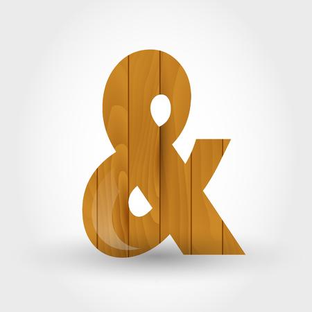 wood symbol &, concept of wood alphabet