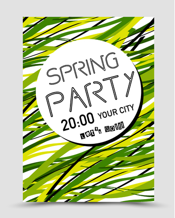 spring party poster, green concept Illustration
