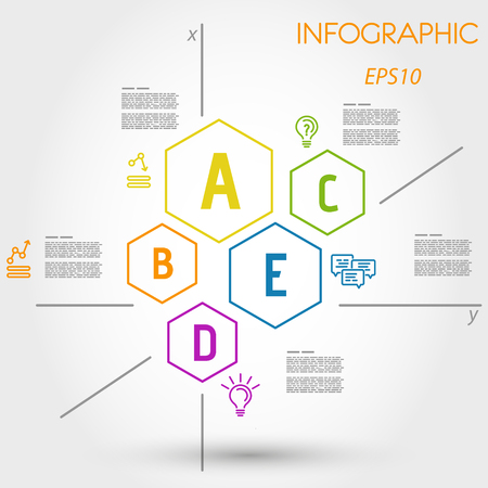 colorful outline hexagon infographics with letters