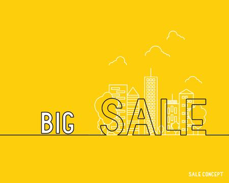 orange sale with city silhouette, discount concept Ilustração