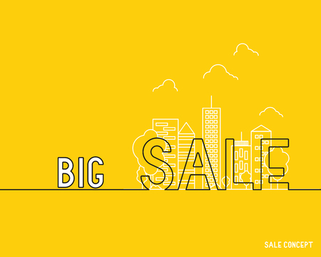orange sale with city silhouette, discount concept Illustration