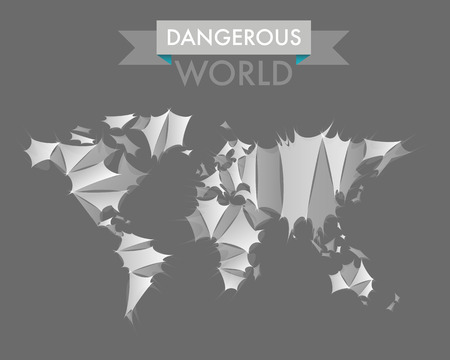dangerous world map, white concept Illustration