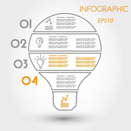big outline infographic bulb, linear arrow concept