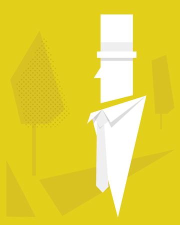 white cartoon gentleman with yellow background