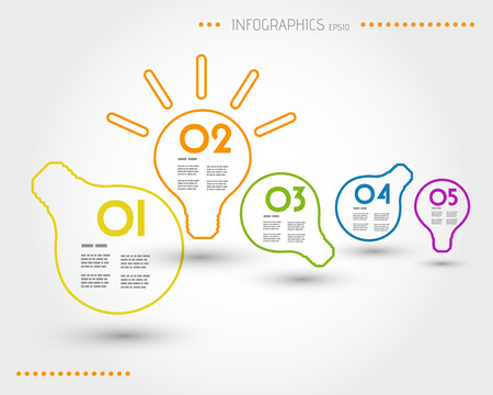 colorful outline bulbs, infographic concept Illustration
