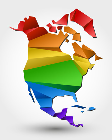 colorful map of North America. stylized concept