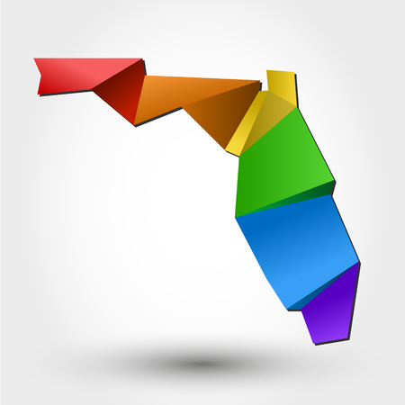 colorful map of Florida, stylized concept Illustration
