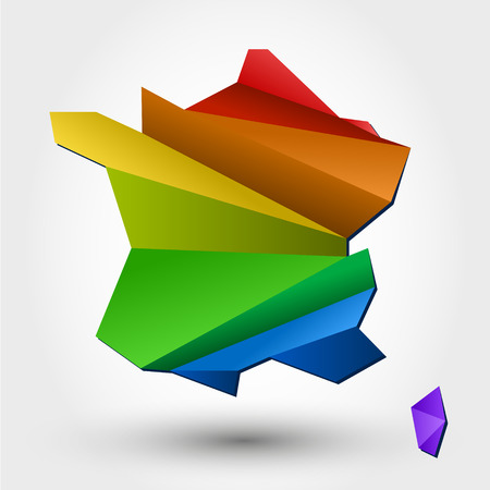 kleurrijke kaart van Frankrijk. gestileerd concept Stock Illustratie