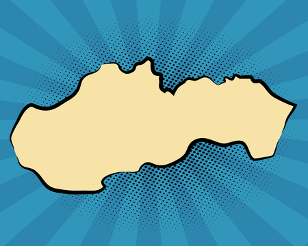 retro map of Slovakia. stylized map. drawn Slovakia. pop art concept.