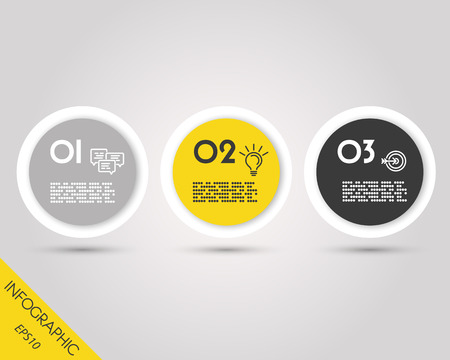 blank magazine: infographic rings, rounded stickers, three options